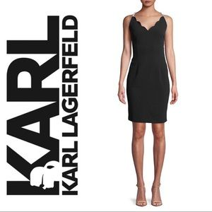 NWT Karl Lagerfeld Pearl Strap Sheath Black Dress
